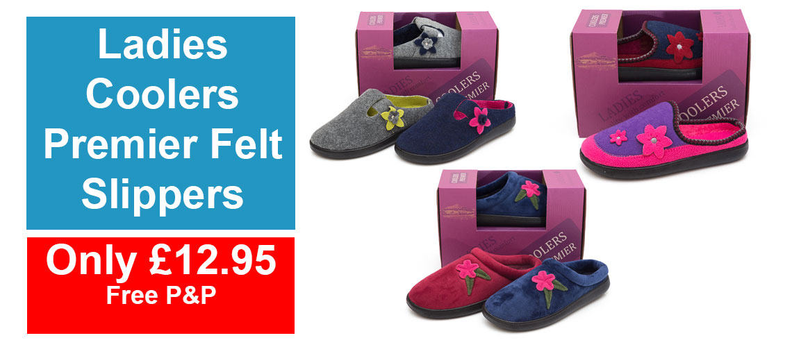 Ladies Coolers Premier Felt Slipper
