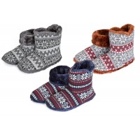 Mens Coolers Fair Isle Plush Faux Fur Lining Knitted Slipper Boots